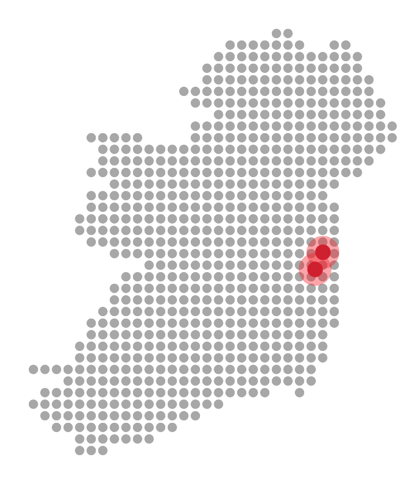 Map of ireland with location of two data centres