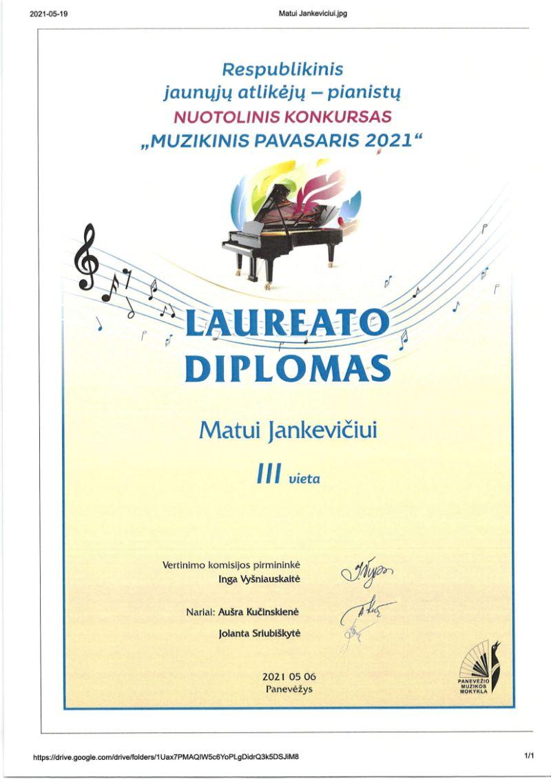 """Respublikinis jaunųjų atlikėjų – pianistų nuotolinis konkursas """"Muzikinis pavasaris 2021"""""""