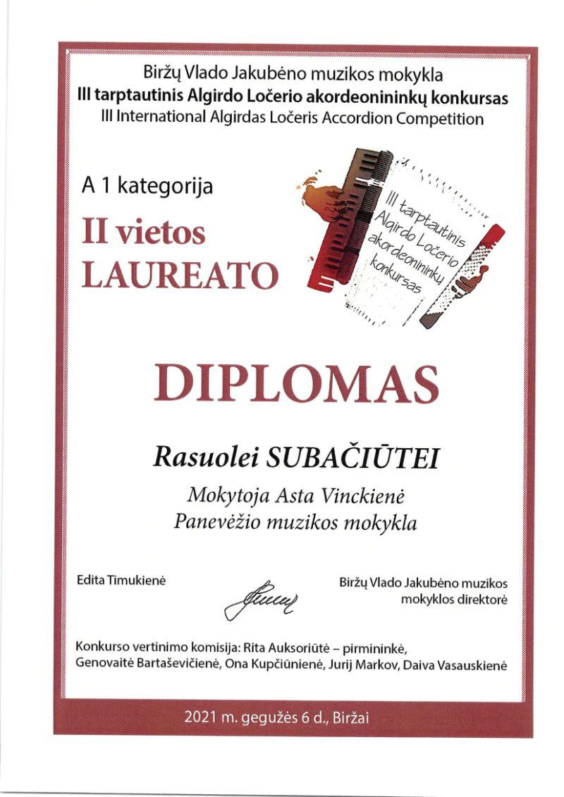 III tarptautinis Algirdo Ločerio akordeonininkų konkursas