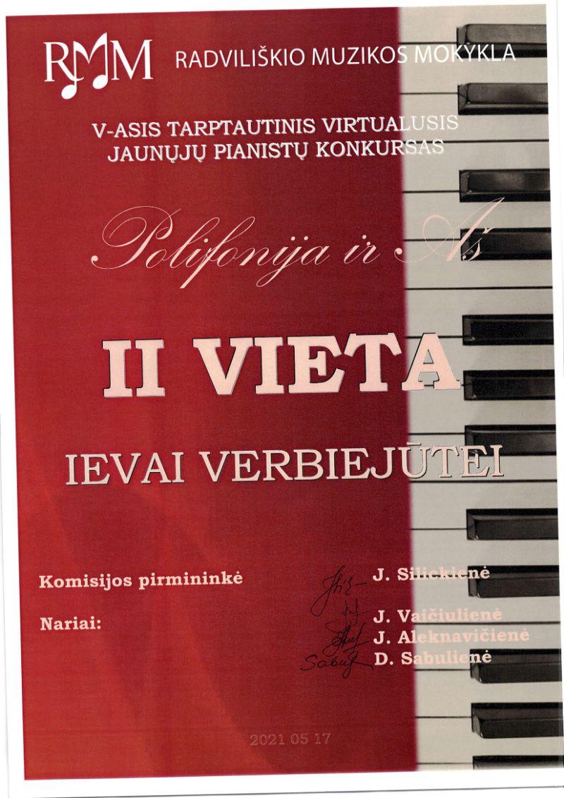 """V tarptautinis virtualusis jaunųjų pianistų konkursas """"Polifonija ir Aš"""""""