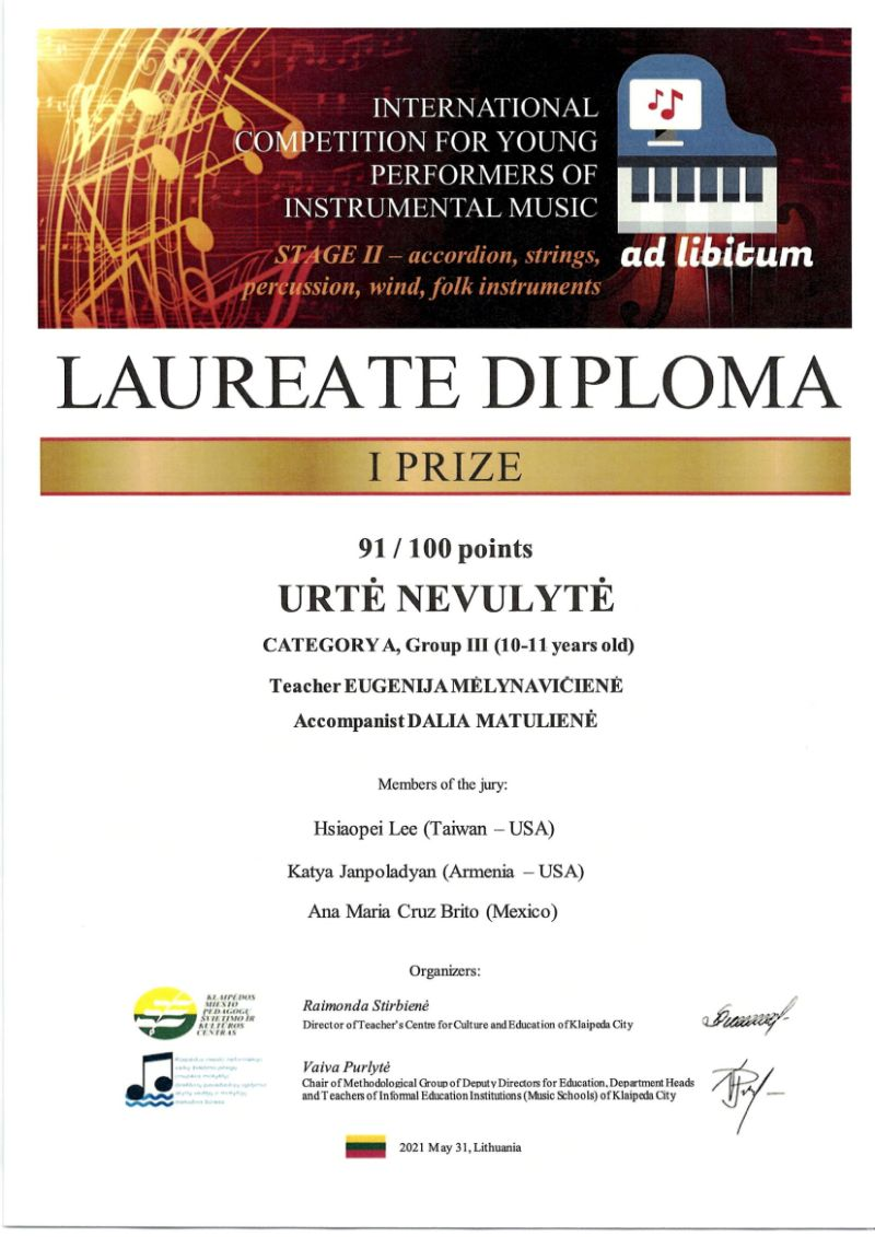 """Tarptautinis virtualus instrumentinės muzikos jaunųjų atlikėjų konkursas """"Ad Libitum"""""""