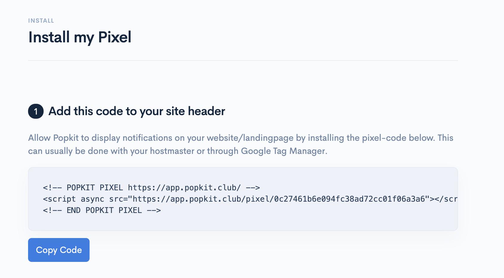 Install Pixel Code Social Proof