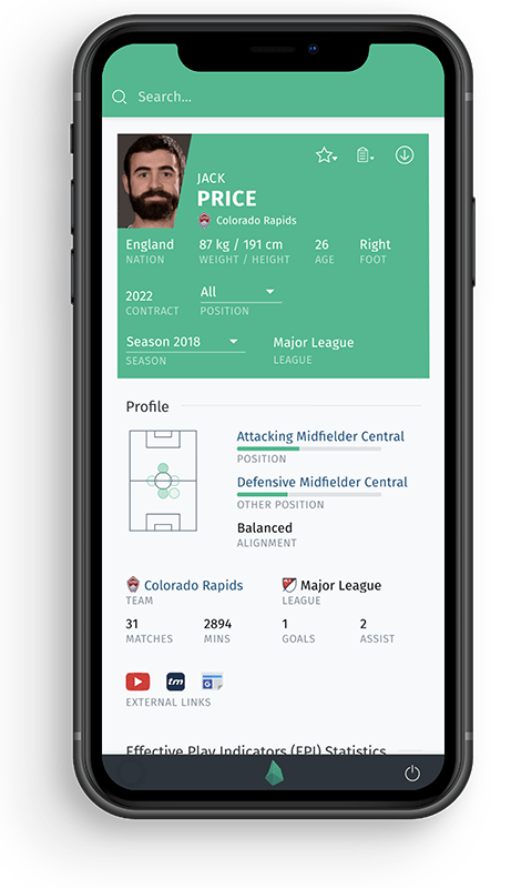 Football Analytics Player Statistics on Mobile Phone