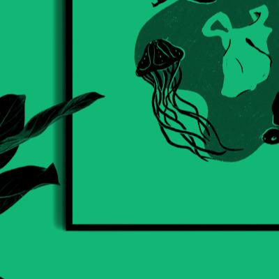 Digital illustration of the impact of men on the oceans