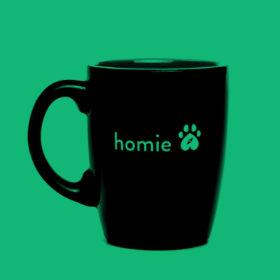 Branded ceramic mugs for the Homie project, digitally sponsoring dog adoptions in your area