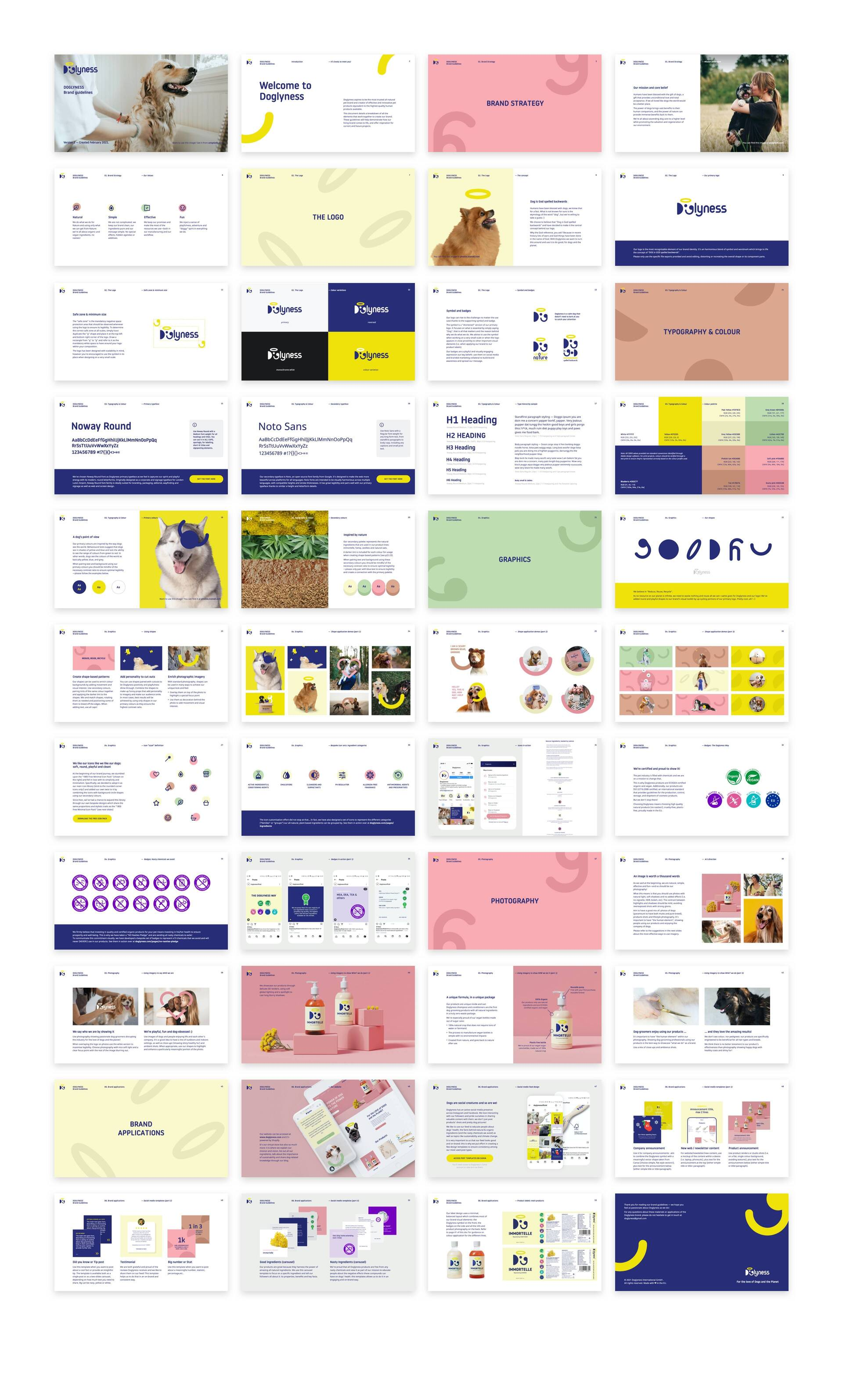Brand guidelines document for Doglyness