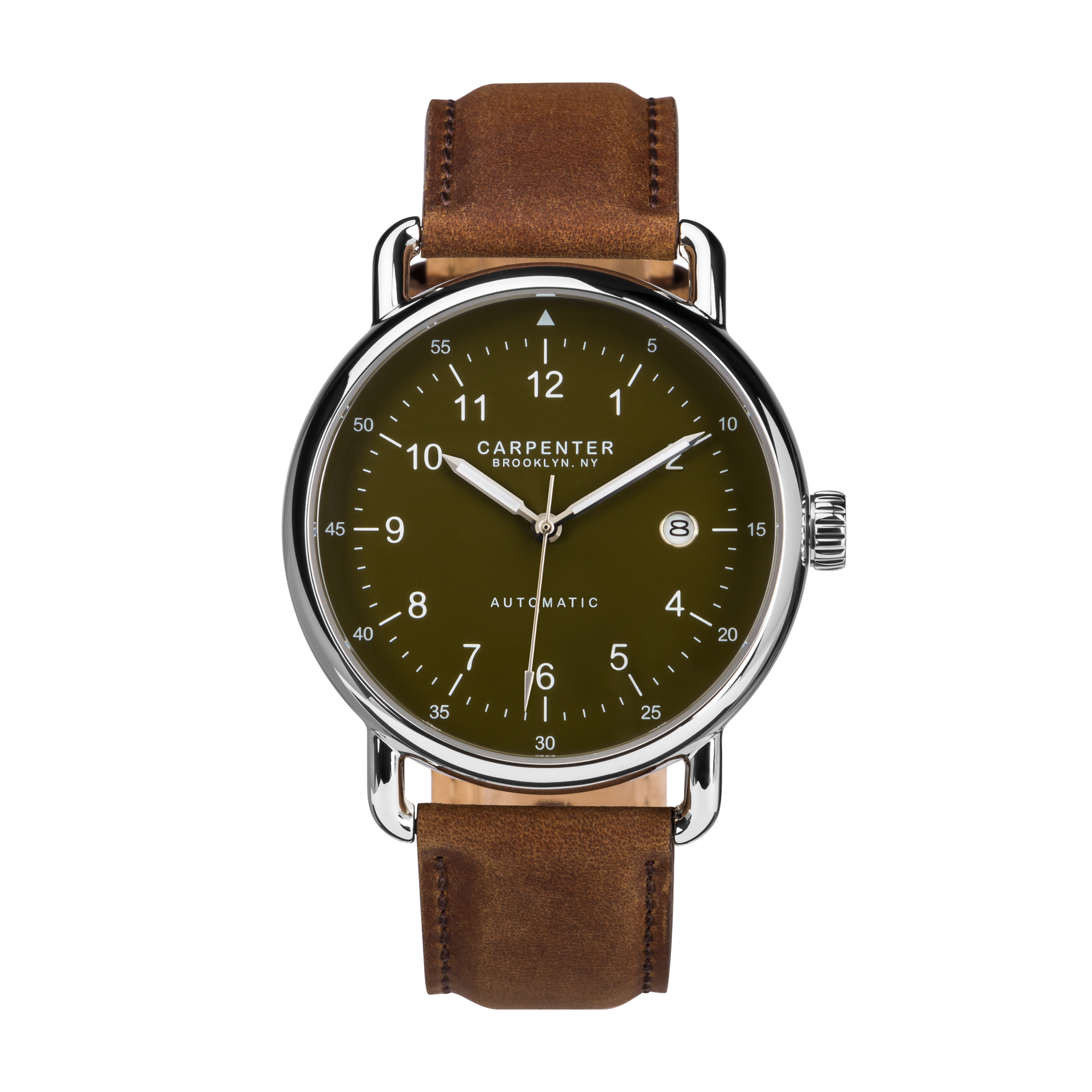 Watch with brown leather strap product image