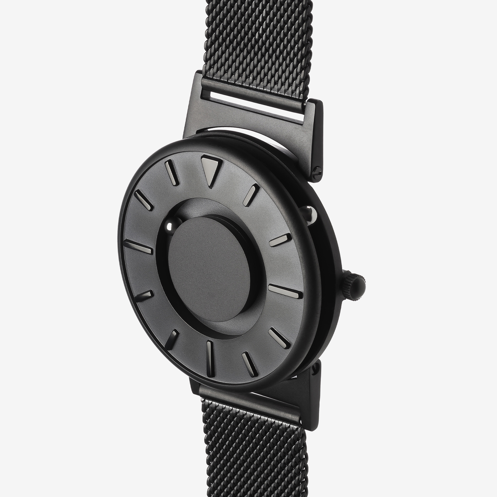 Black metal watch product photo