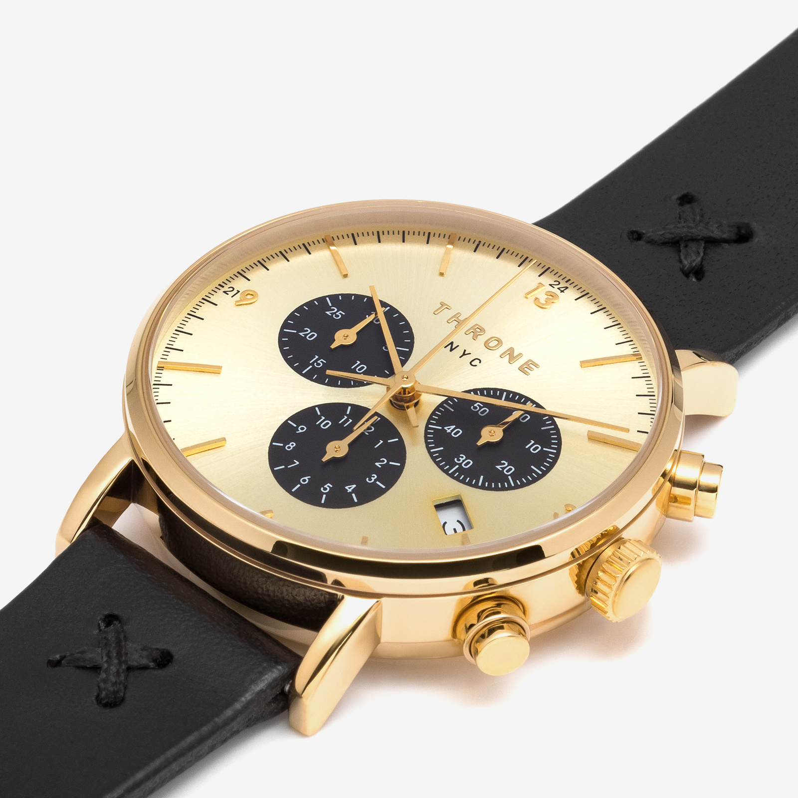 Golden watch product photography