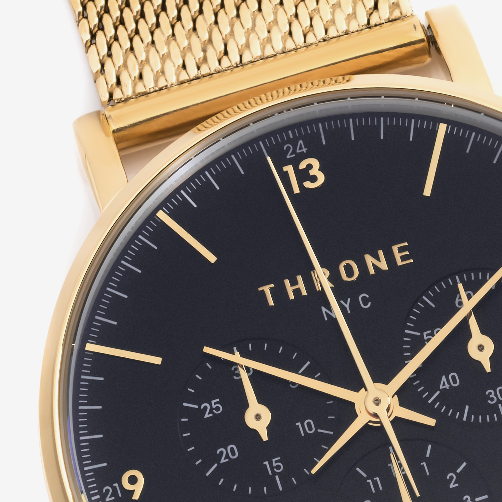 Golden watch close up product photo