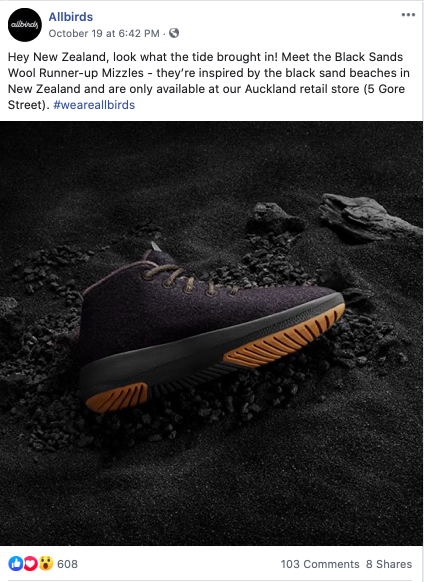 Facebook ads example Allbirds