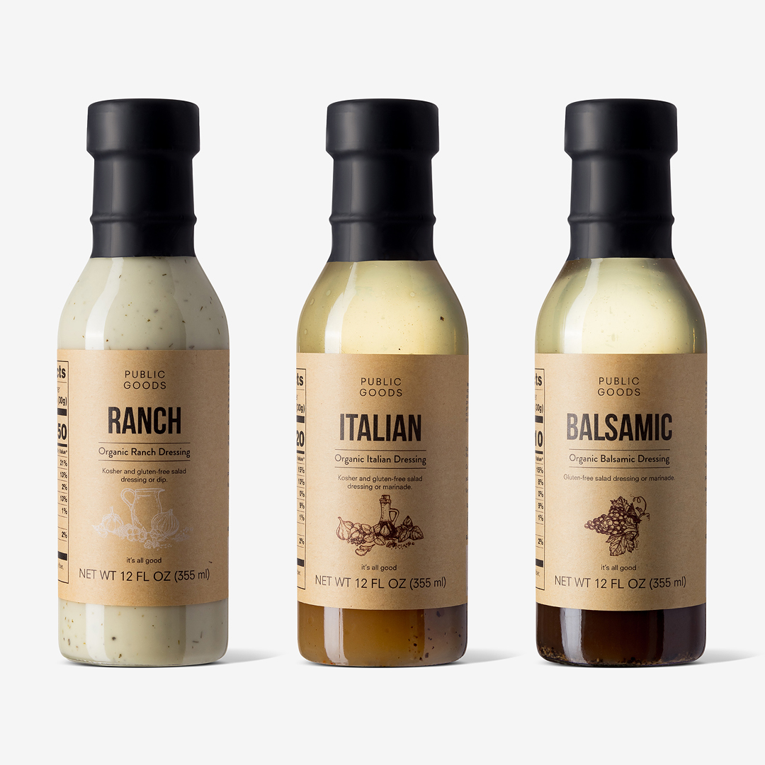 Public goods organic dressing set ranch italian balsamic