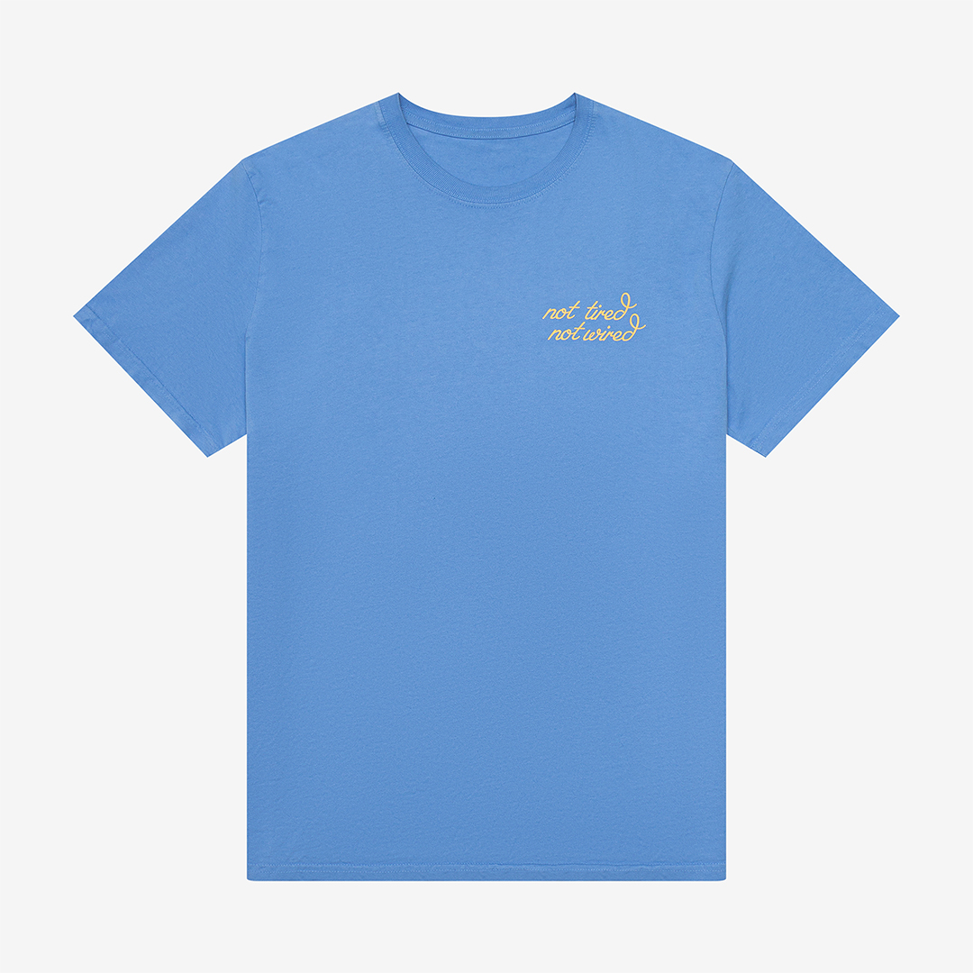 Flat lay blue t-shirt