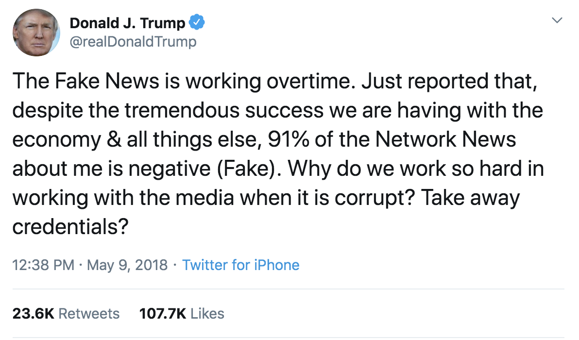 Donald Trump attacks fake news on Twitter