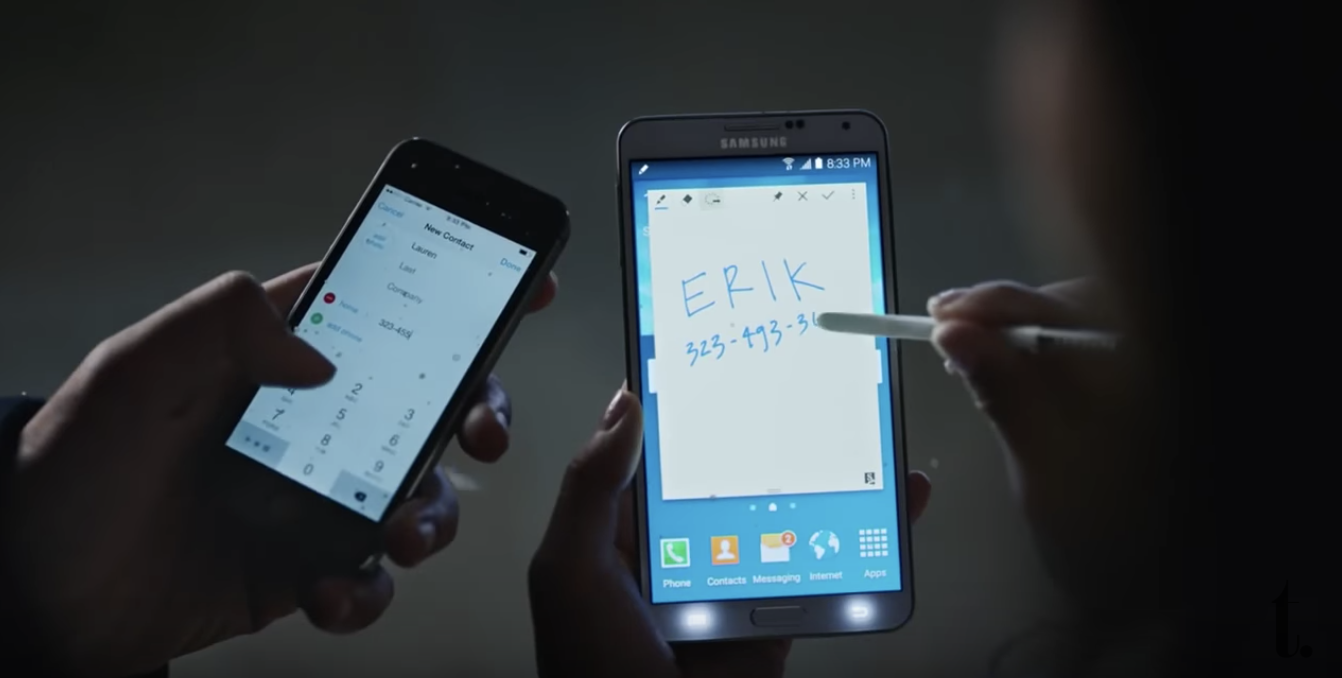 Samsung mobile advert mocking Apple