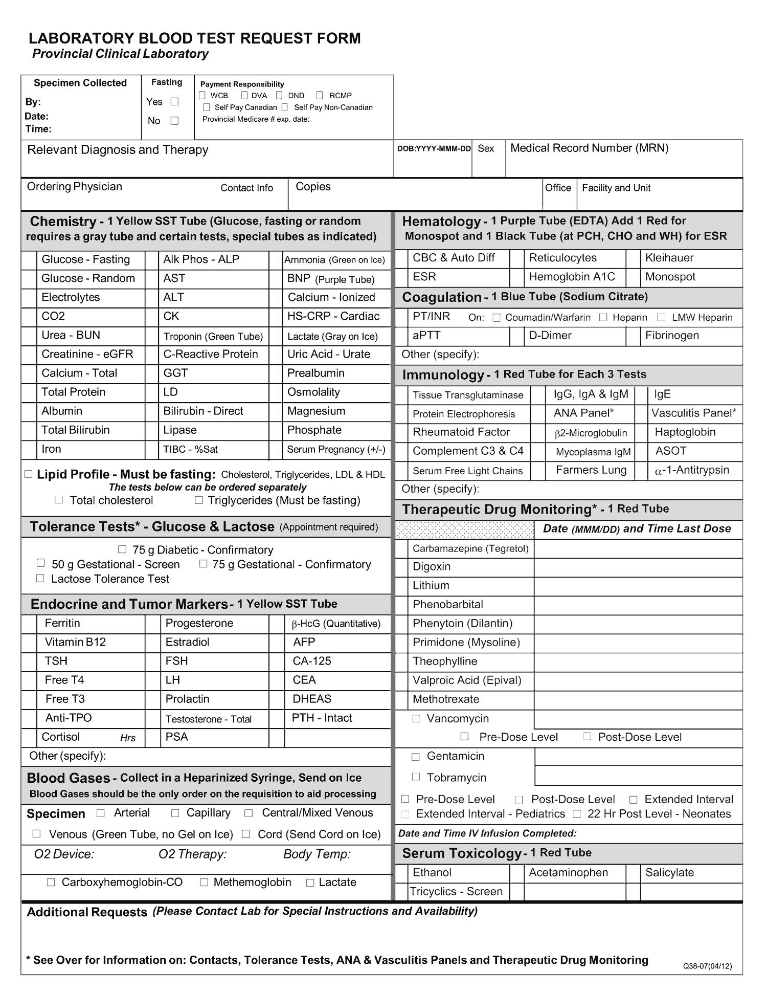 Lab Blood Test request form
