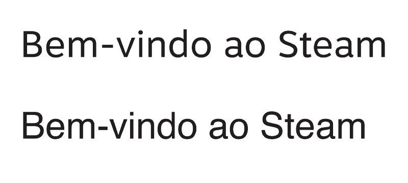 Motiva Sans (acima) e Helvetica (abaixo): perceba a diferença no espaço dado entre cada letra em cada uma das fontes