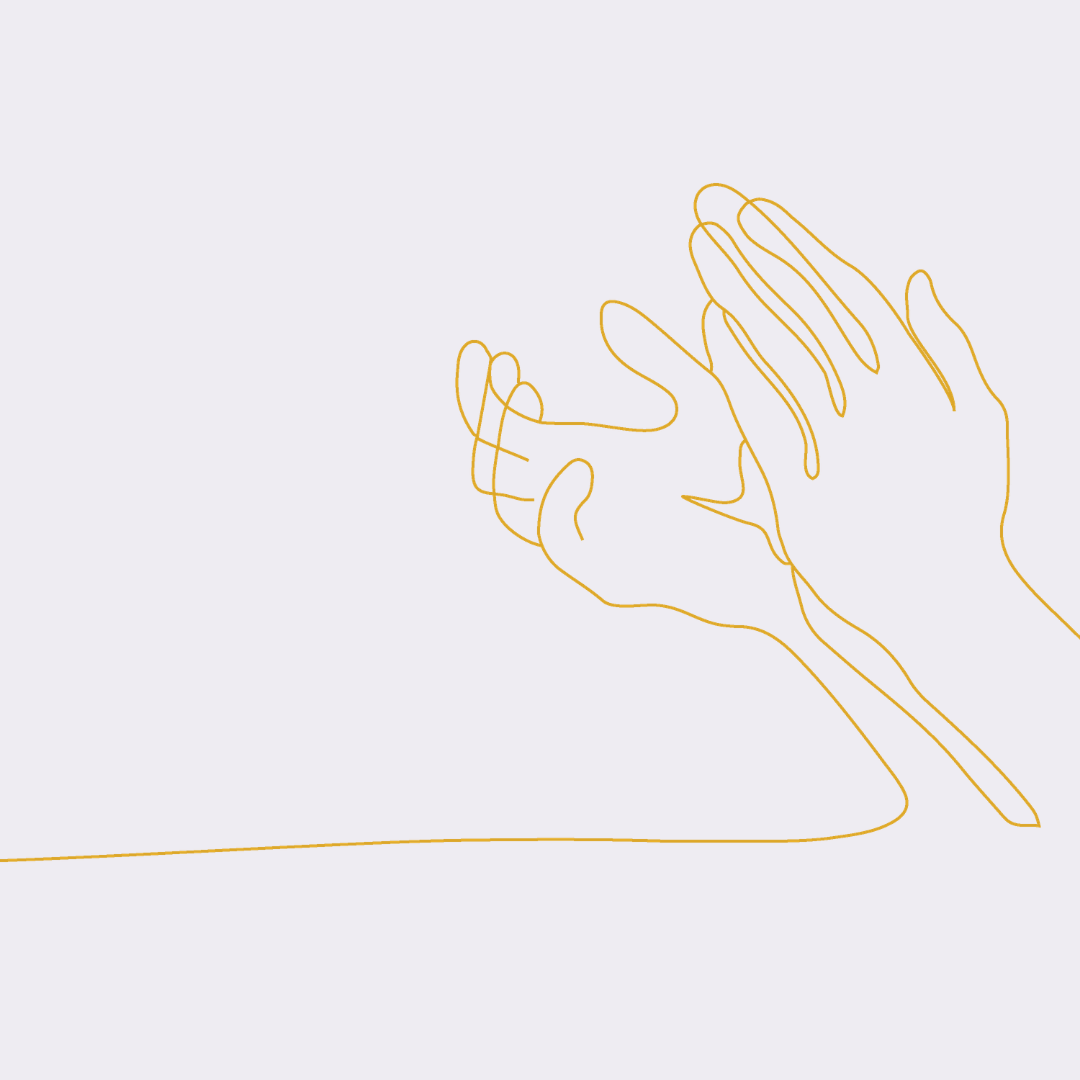Line drawing of hands clapping