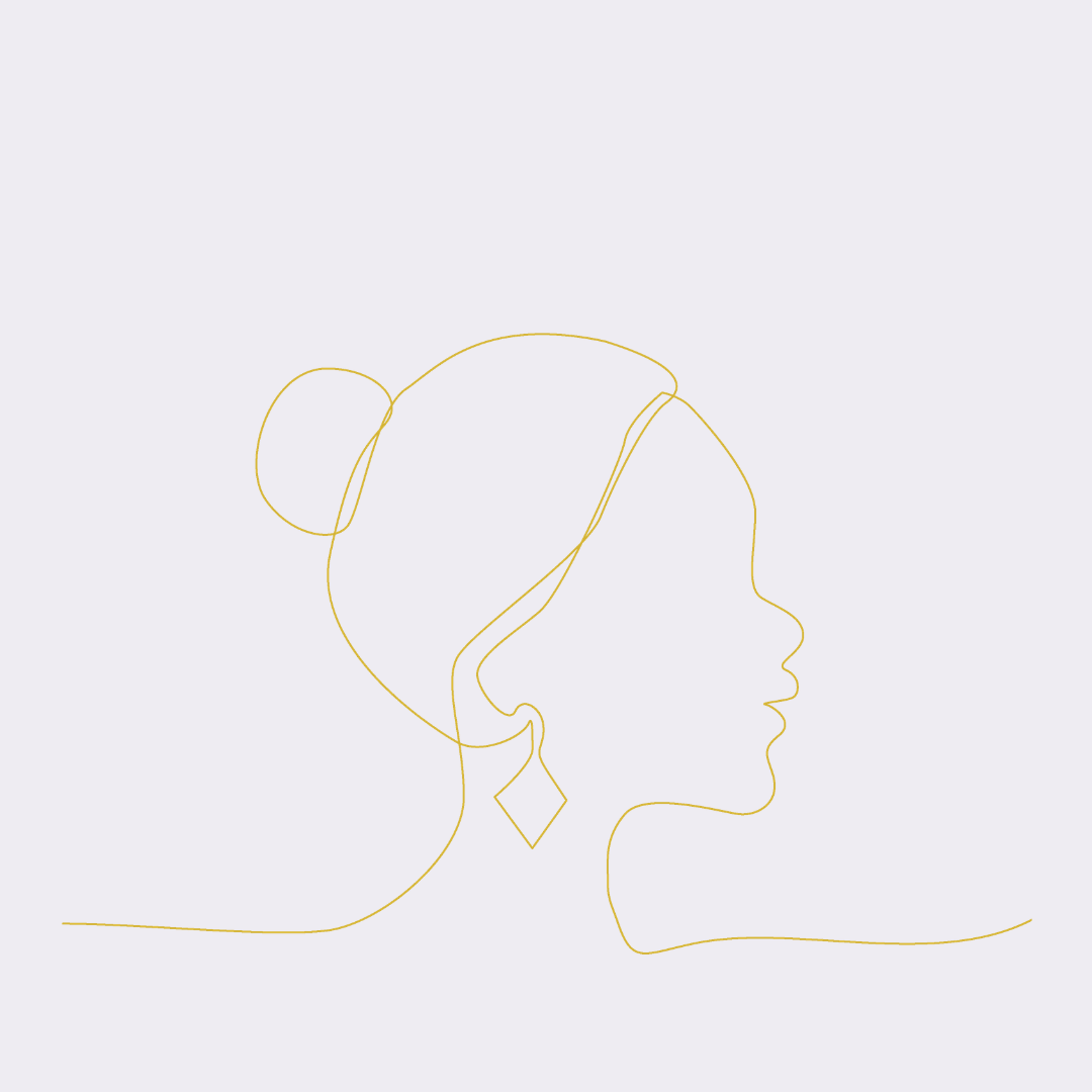 Line drawing of woman in profile