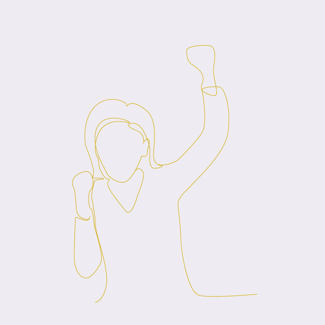 Line drawing of woman cheering