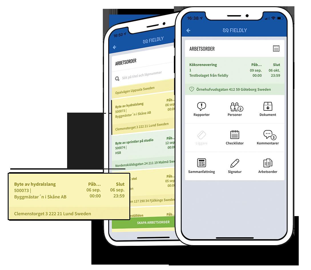 Fieldlys arbetsorder app direkt i mobilen