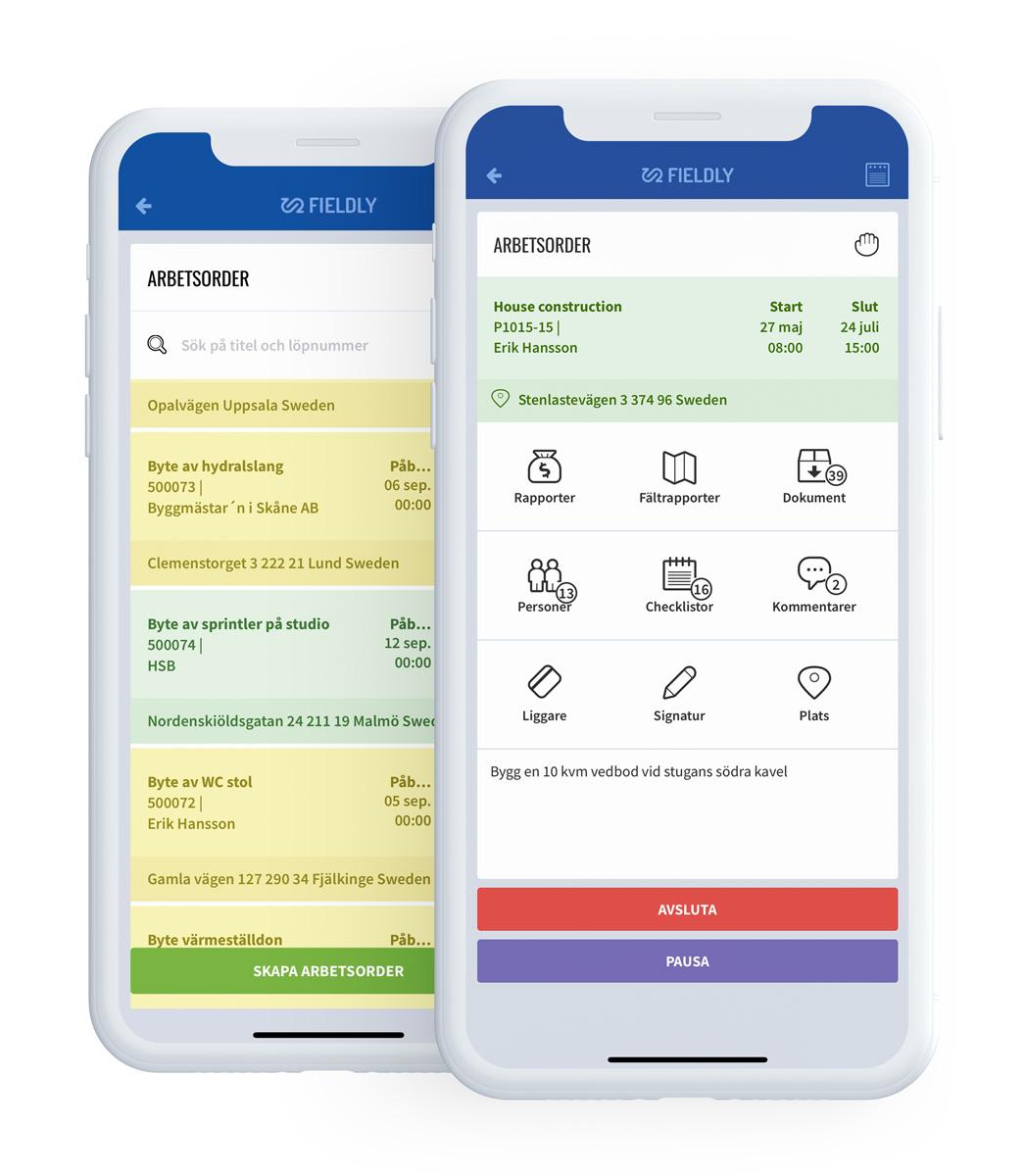 Digital projektplanering i Fieldlys mobila app