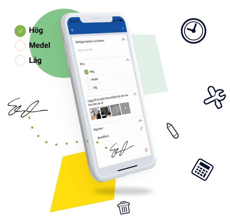 mobiltelefon med Fieldly-appen