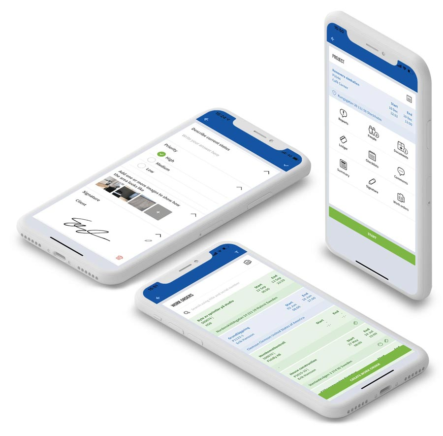 3 mobiltelefoner med Fieldly-appen
