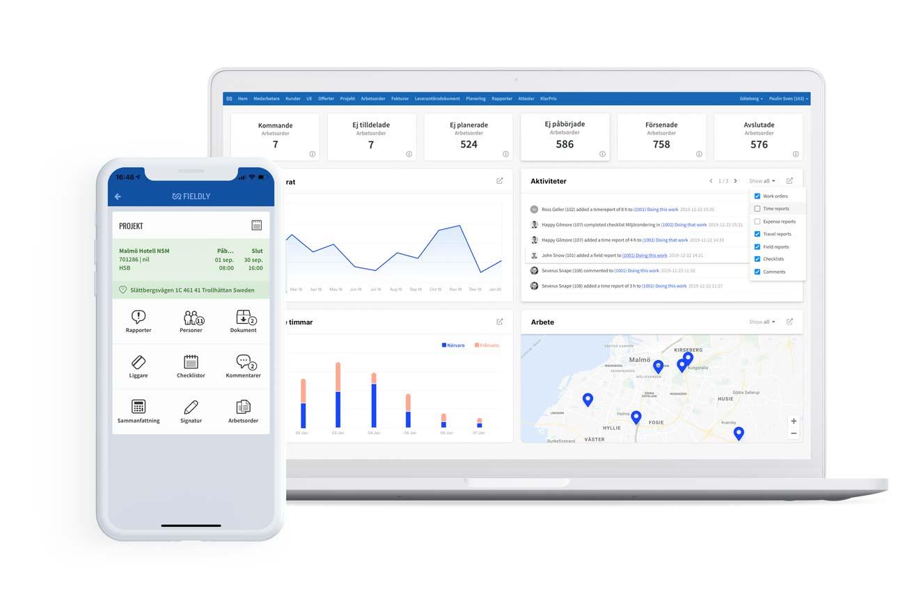 mobil och laptop Fieldly projekthanteringsverktyg