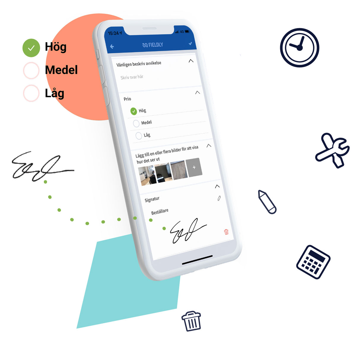 mobila checklistor och tidrapportering app