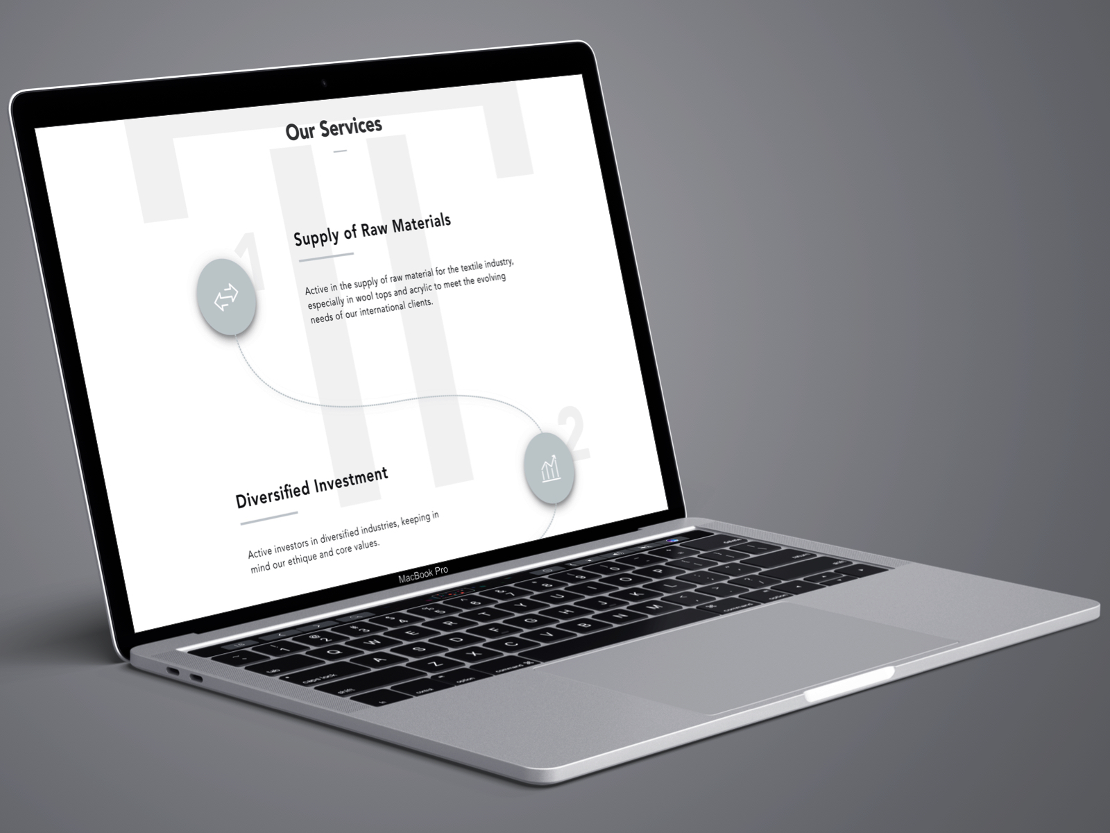 Tradevcogen mockup on left inclined macbook laptop showcasing Web & Responsive Design
