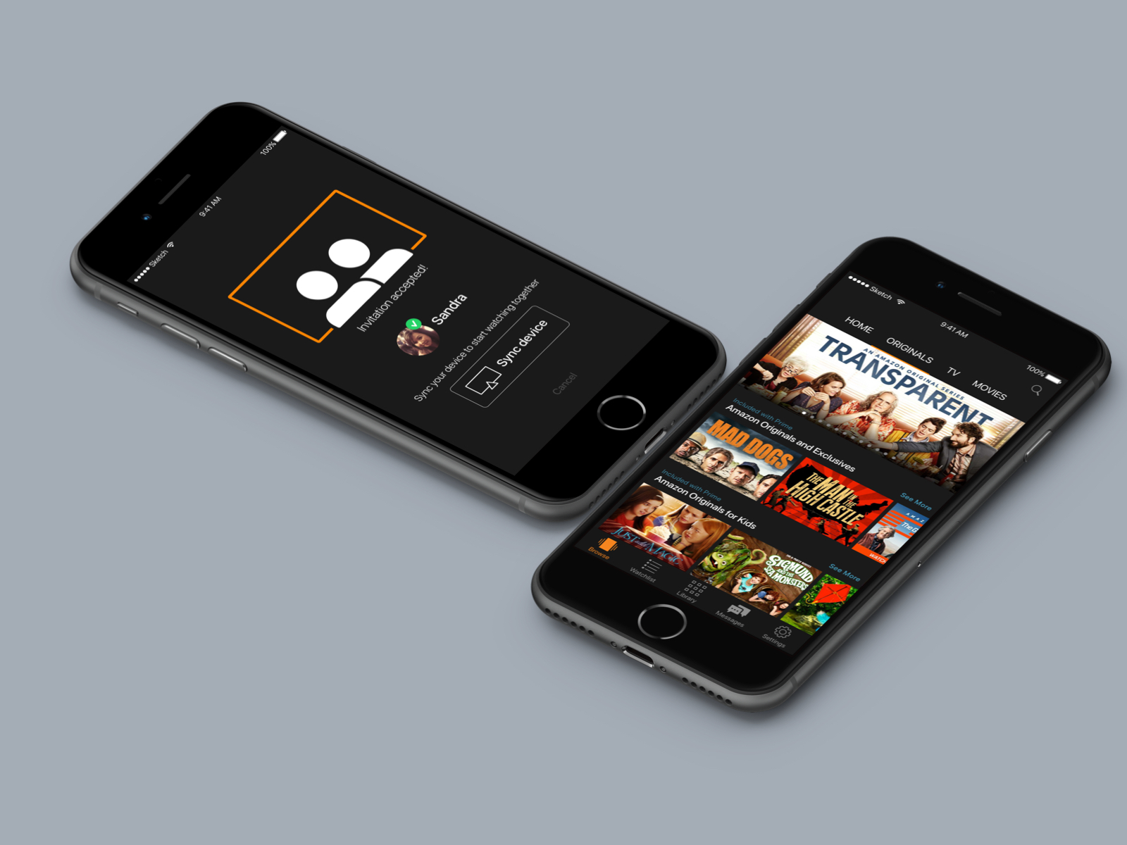 Amazon Mobile & App Design mockups showing the interface