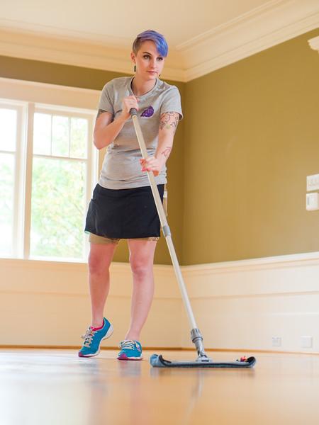 Cleaner mopping hardwood floors