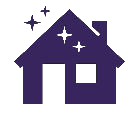 Purple house icon with sparkles