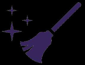 Purple broom with stars icon