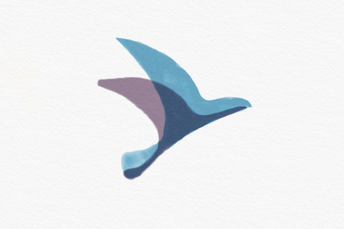 Sora's logo, the blue and purple silhouette of a bird, painted in water color on a piece of paper
