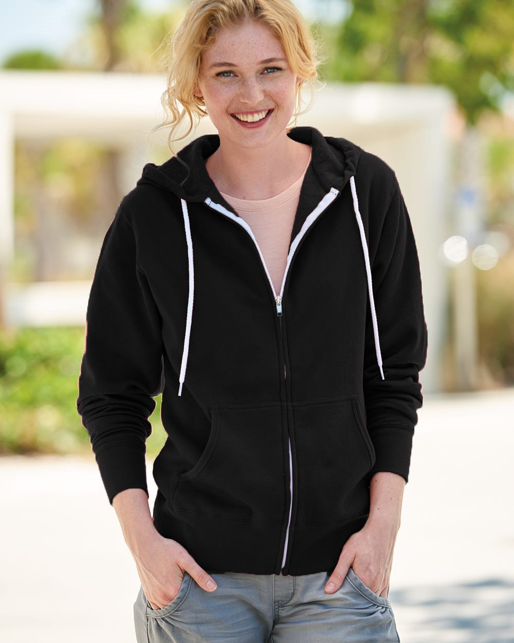 Independent Trading Co. AFX90UZ - Unisex Lightweight Full-Zip Hooded Sweatshirt