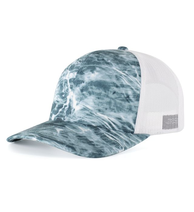Pacific Headwear 107C - Elements Aqua Camo Trucker Snapback Cap
