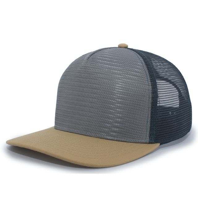 Pacific Headwear P724 - 5-Panel Mesh Overlay Trucker Snapback