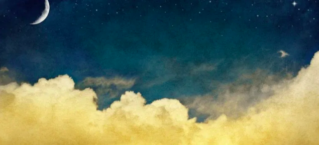 Illustration of nighttime sky with clouds and the moon.