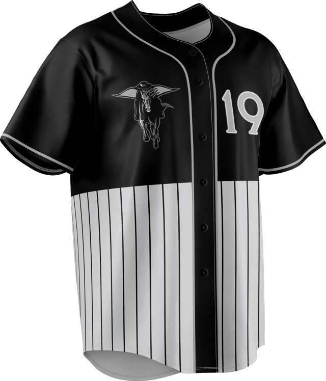 Baseball button down shirt with numbering and graphic on chest