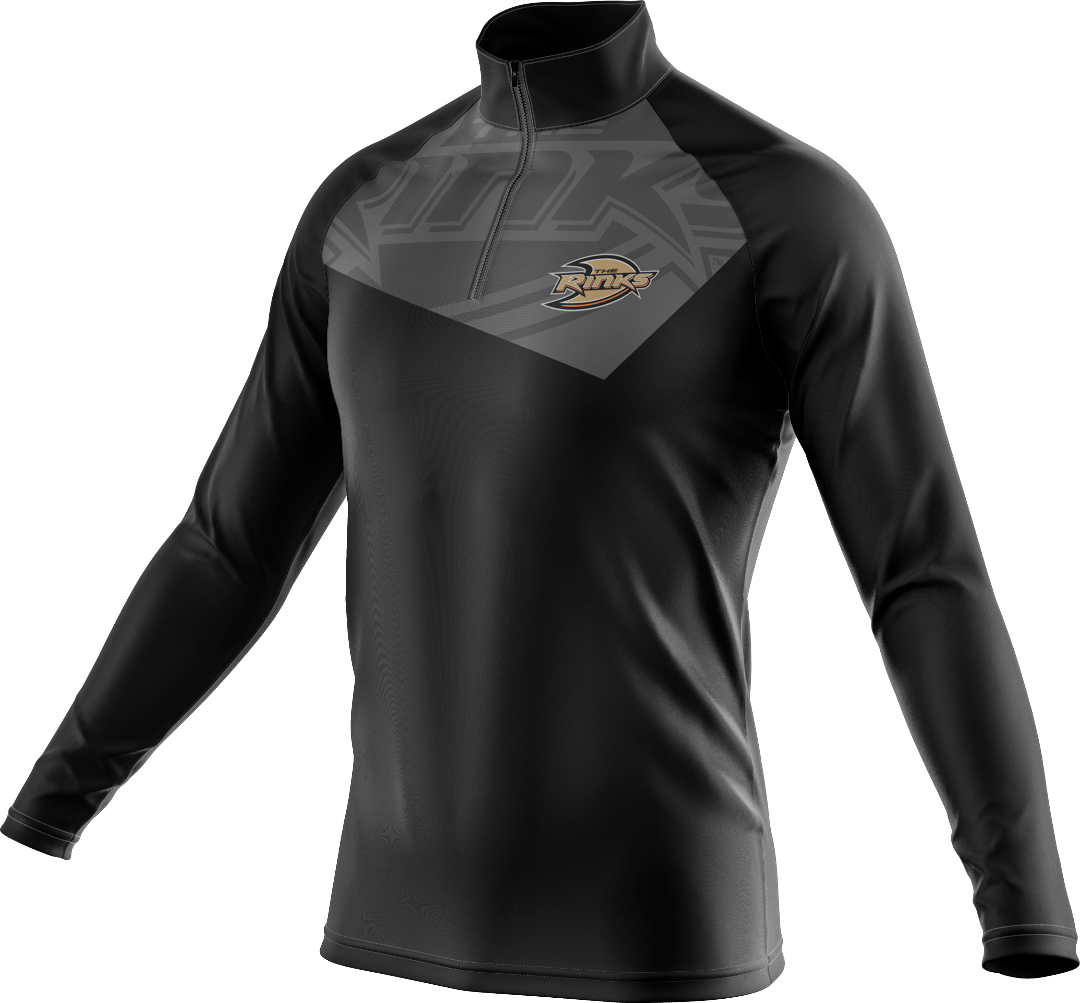 Quarter zip pullover sweatshirt with graphic on chest