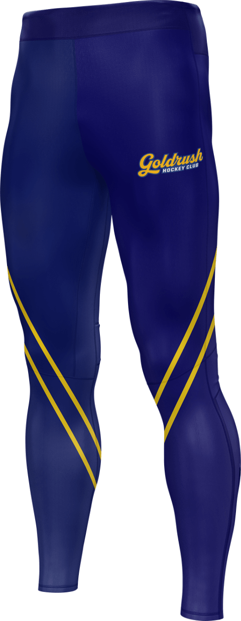 Goldrush Hockey team pants in blue with team logo and striping