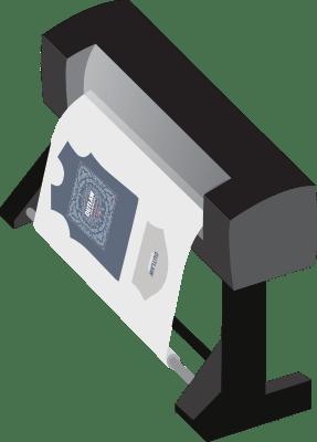 Illustration depicting a large-format printer