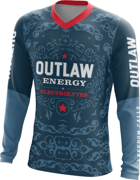 Outlaw Energy long sleeve shirt with custom color logos and graphics