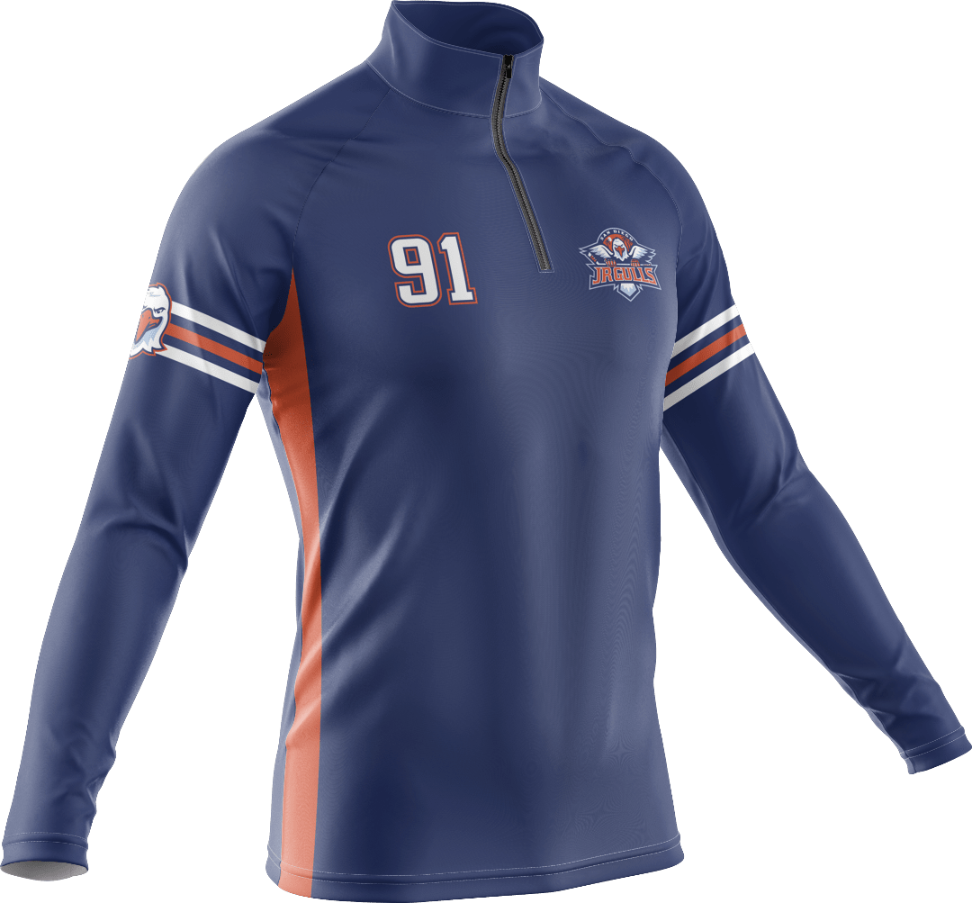 Quarter zip pullover sweatshirt with numbering and logo on chest