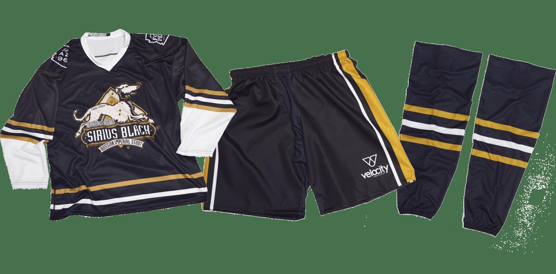 Ice hockey jersey, pants, and socks