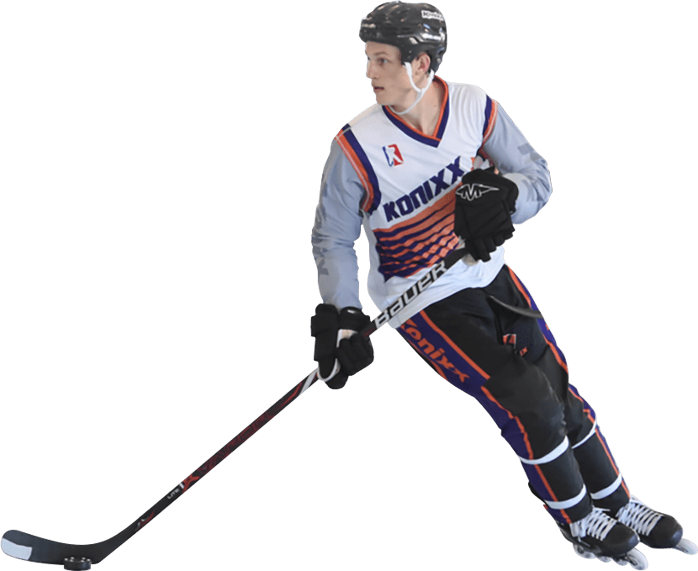 Ice hockey player in full uniform skating on the ice