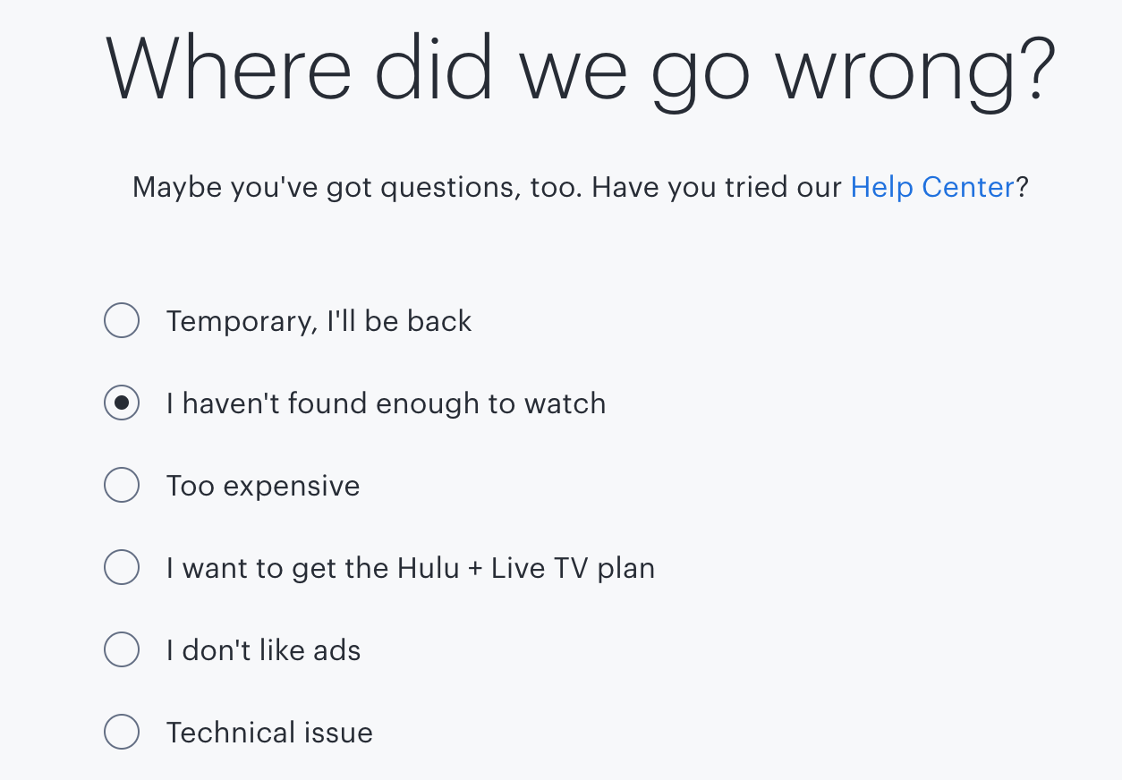 Cancel Hulu Subscription Step 4