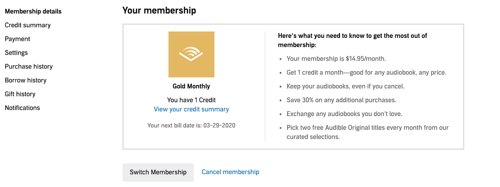 Cancel Audible Subscription Step 2